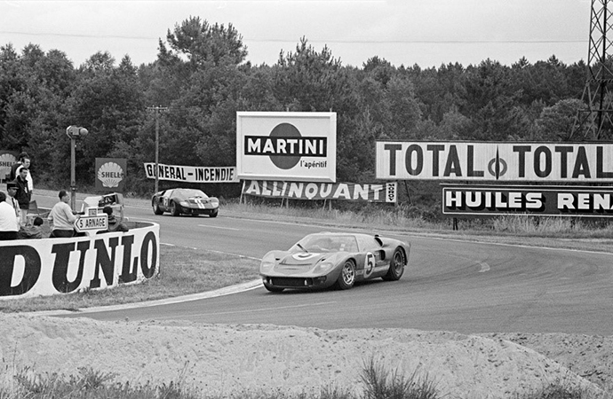 A Ford GT40 rounds a curve at the 1966 24 Hours of Le Mans. An upcoming film about the historic Ford victory will star Matt Damon as Carroll Shelby. | RM Sotheby's photo