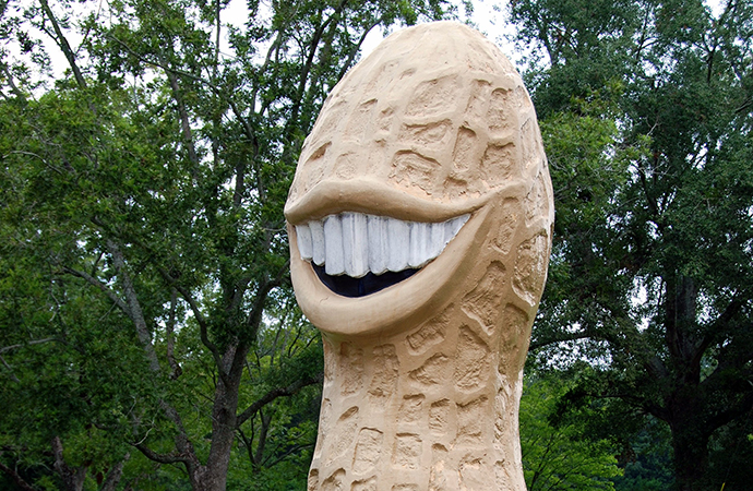This peanut statue designed for former President Jimmy Carter's Indiana campaign is nightmare-inducing. | Flickr photo by Donna Sullivan Thompson cropped under license CC 2.0