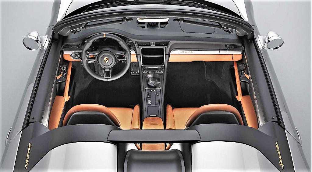 The Porsche's interior is appointed with tan leather
