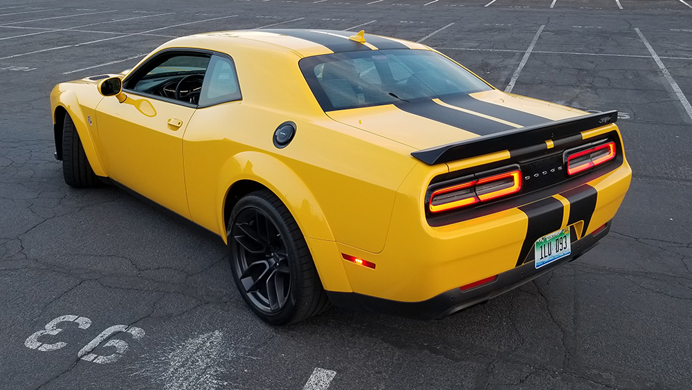 The Widebody package on the 2018 Dodge Challenger SRT Hellcat changes the car's stance and combines sleek lines with classic American muscle. | Carter Nacke photo