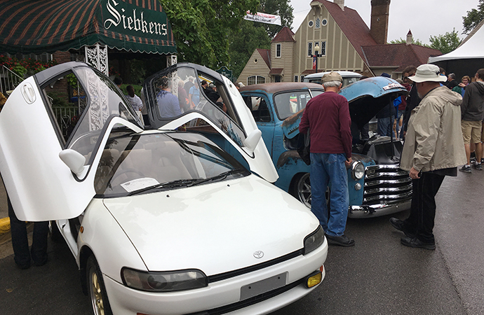 An unusual 1991 Toyota Sera displayed in front of Siebken's on Saturday night. | William Hall photo