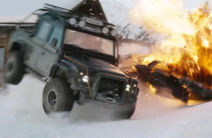One of the Land Rovers in action during Spectre. | Bonhams photo