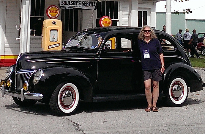 Reeme poses with her first classic car, a 1939 Ford 4-door Deluxe. | Jody Reeme photo