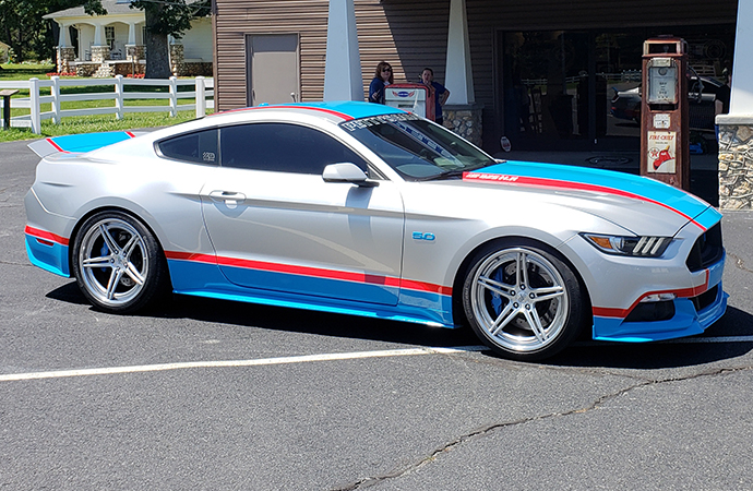 One of Scott Roshak's Richard Petty Mustang GTs is shown in front of the Richard Petty Museum in Randleman, North Carolina. | Scott Roshak photo