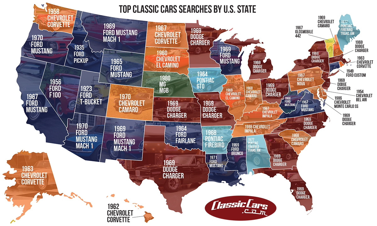 This map shows the classic cars searched for the most between June 2017 and June 2018. | ClassicCars.com photo