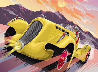 Classic cars and American venues matched in Grand Touring Art series