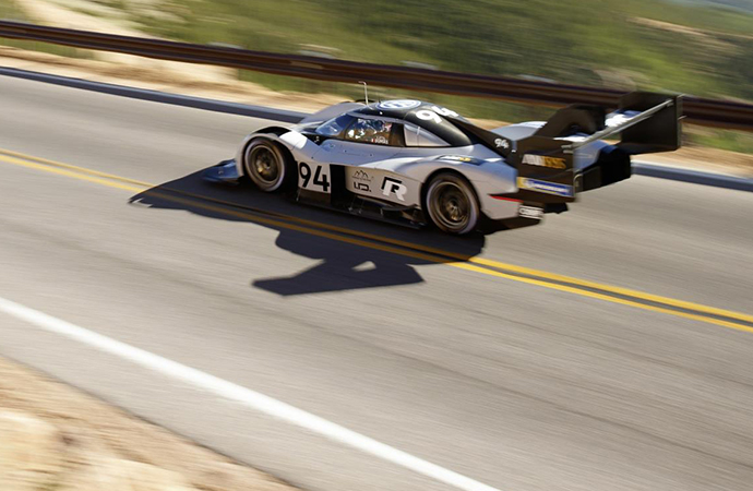 The Volkswagen I.D. R Pikes Peak is shown during its record-breaking run up the Colorado mountain. | Volkswagen photo