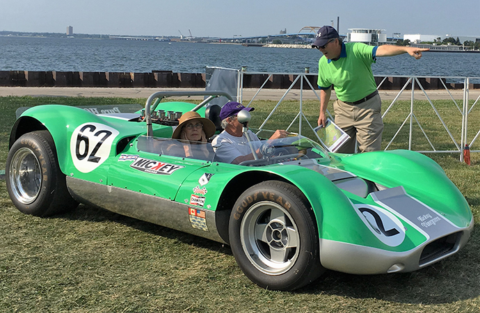 The passenger in this 1965 Huffaker Genie Mk10 making the Home Alone face. | William Hall photo