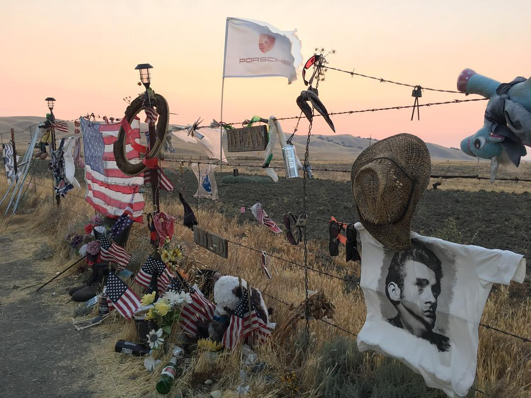 The site of James Dean's death is typically covered in tributes to his life and legacy. | Instagram photo/@where.the.wild.things.reign
