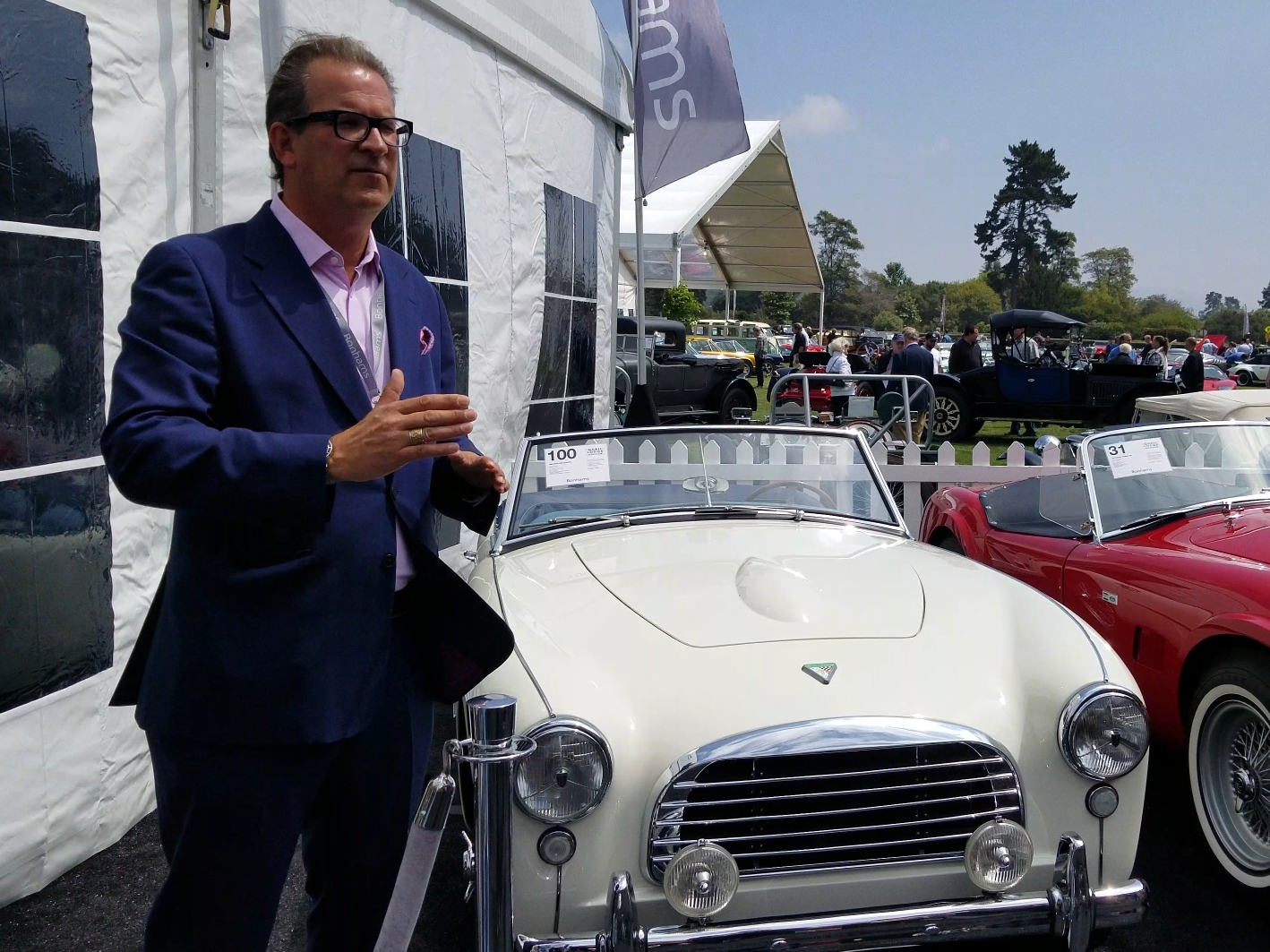 Andy Reid discusses a Swallow Doretti during Monterey Car Week auction tour | Rebecca Nguyen photo
