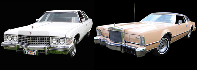 The 1974 Cadillac Fleetwood d'Elegance Brougham (left) was given to Presley's personal psychic, while the 1976 Lincoln Continental Mark IV Cartier Edition was given to a doctor who helped Presley. | GWS Auctions photos