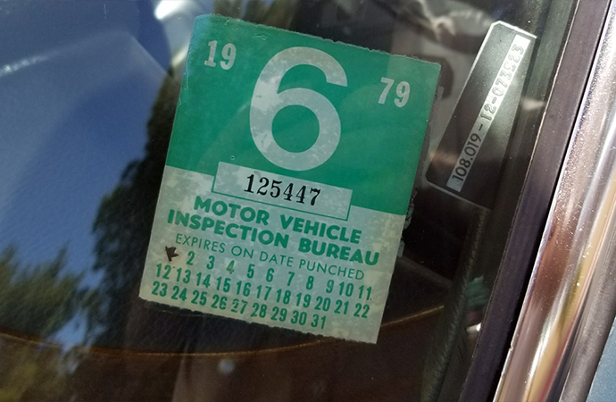 In addition to original paperwork, the car still retains its 1979 inspection sticker. | Barrett-Jackson photo