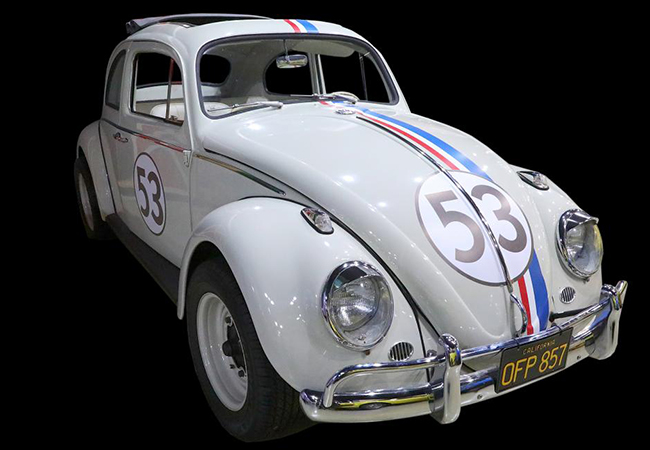 A 1963 Ragtop Volkswagen Beetle used in Herbie: Fully Loaded has plenty of Disney documentation. | GWS Auctions photo