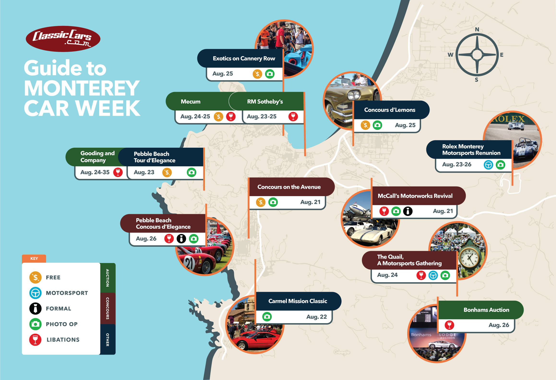 Plan your time at Monterey Car Week with our handy map.