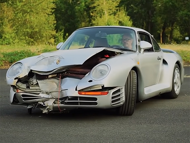 How much the crashed 1987 Porsche 959 will go for at Mecum's Monterey auction is anyone's guess, but t's going to likely be a high-dollar car. | Screenshot