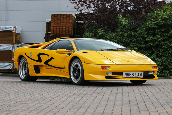 This 1996 Lamborghini Diablo SV is the former Alpine Radio press and show car. | Silverstone Auctions photo