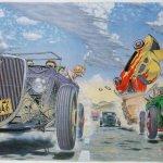 -5b9aa56c174e4–5b9aa56c174e6Robert Williams; Hot Rod Race, 1976; Acrylic on Board; Collection of Gwynned Vitello.jpg