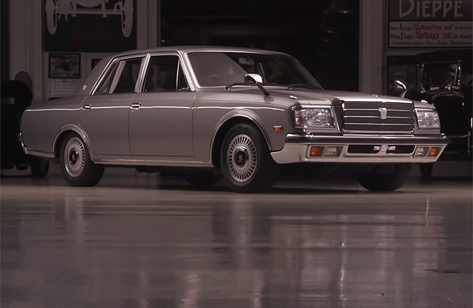 Jay Leno jumped behind the wheel of the 1993 Toyota Century, essentially the Japanese version of a Cadillac, on the latest episode of Jay Leno's Garage. | Screenshot