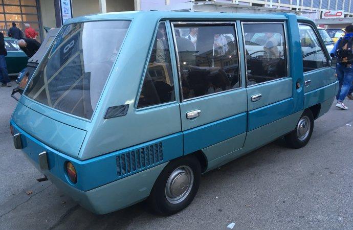 Unusual Bertone-bodied Fiat transport in the vendor's area.