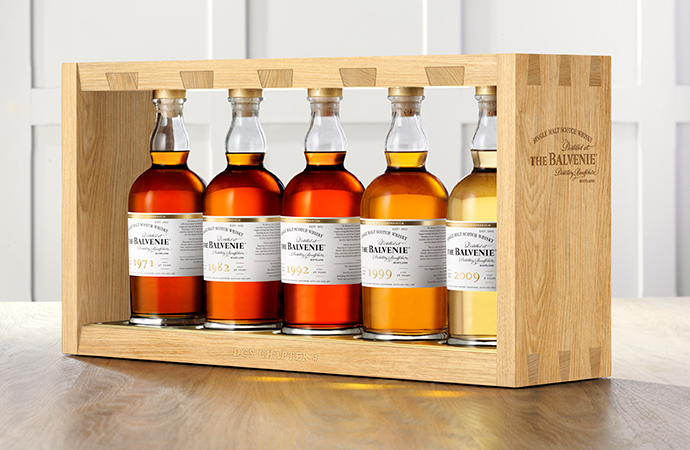 The winning bidder will get these five single-cask malt whiskies in a bespoke frame. | The Balvenie photo
