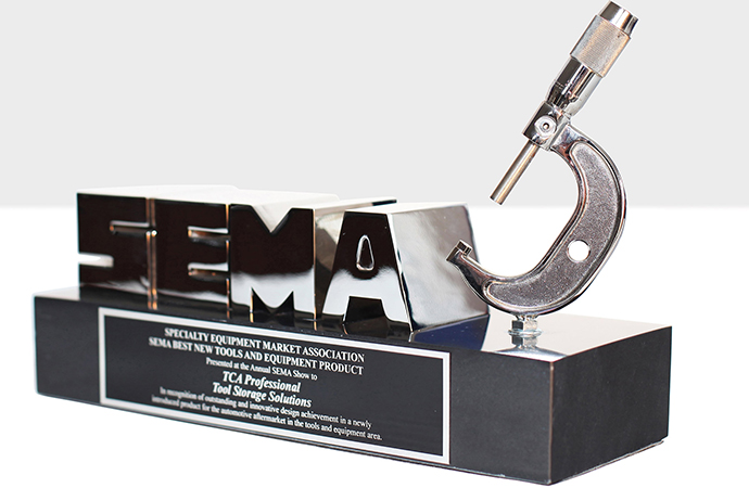 A best new product award from SEMA is a coveted prize, such as this one claimed by TCA Professional Tool Storage Solutions a few years ago. | TCA Professional Tool Storage Solutions photo