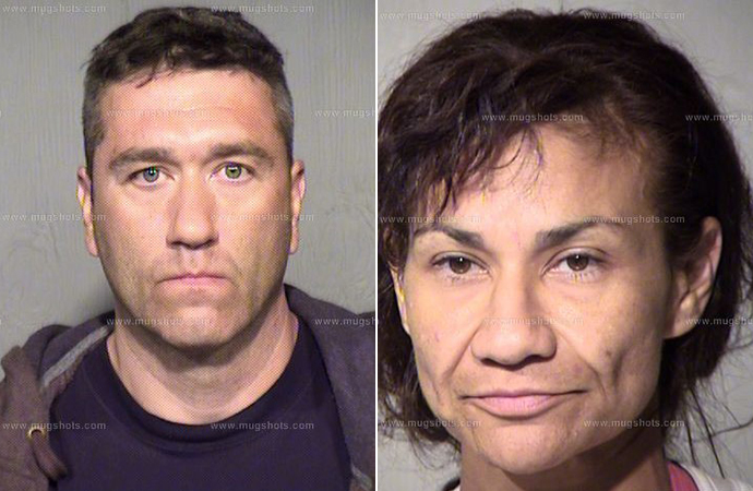 Geoffrey Lawrence Shea (left) and Margarita Shea were charged in the theft. | Mugshot.com photos
