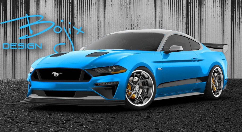 Teaser sketch for 2019 Bokix Design Ford Mustang debuting at 2018 SEMA show. | Ford photo
