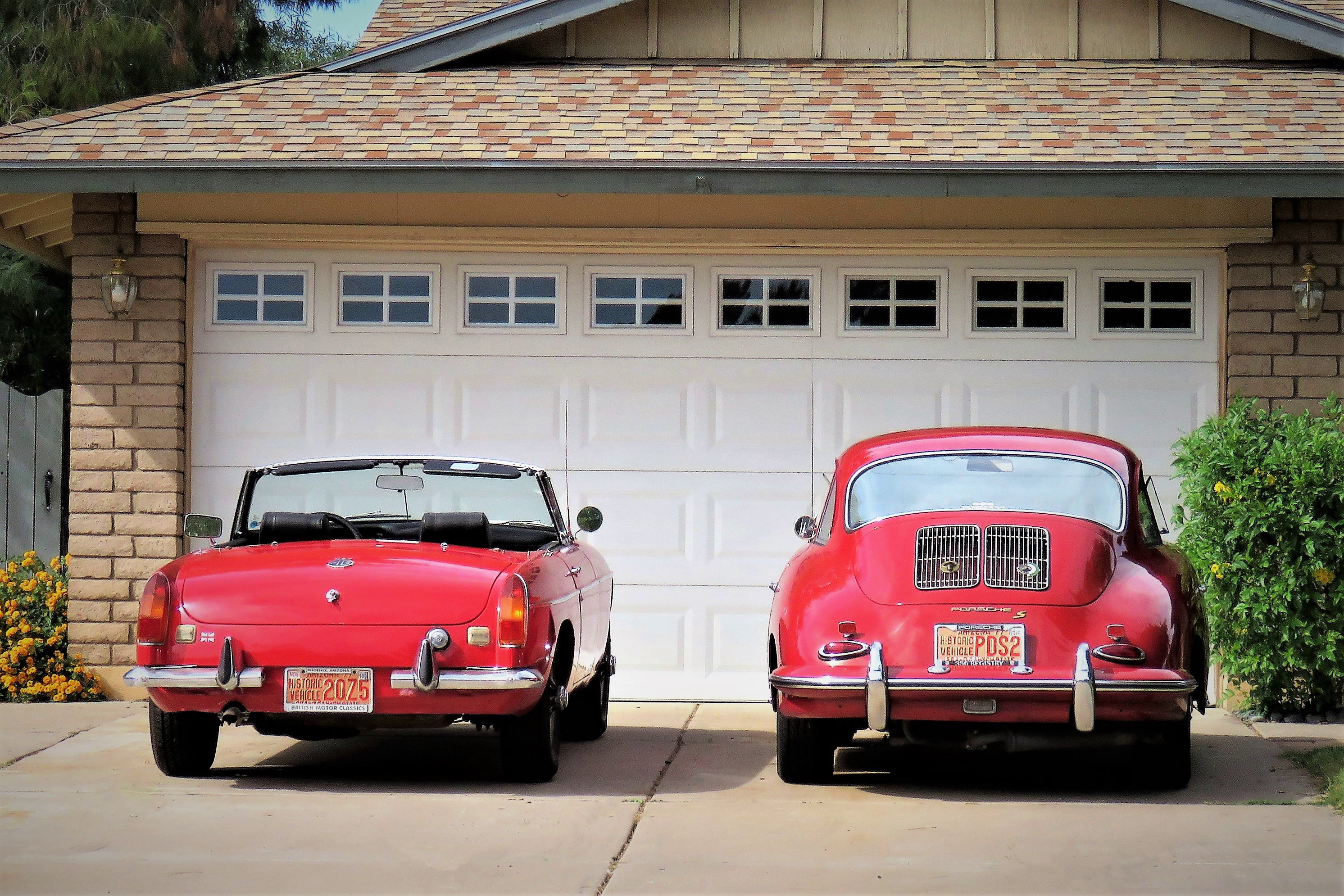 MGB, Porsche 356 both compete for attention in my garage