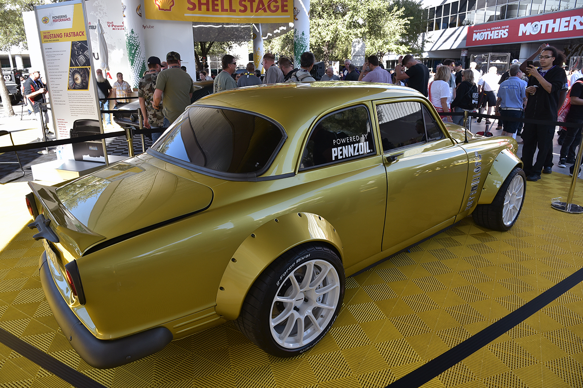 The Jeff Allen-designed V06 -- a mashed-up Volvo Amazon and Chevrolet Corvette Grand Sport -- turned a good amount of heads at the 2018 SEMA Show in Las Vegas. | Shell photo