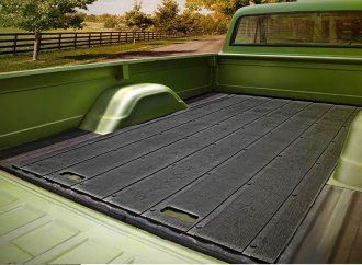 Vintage look for recycled rubber truck bed mat