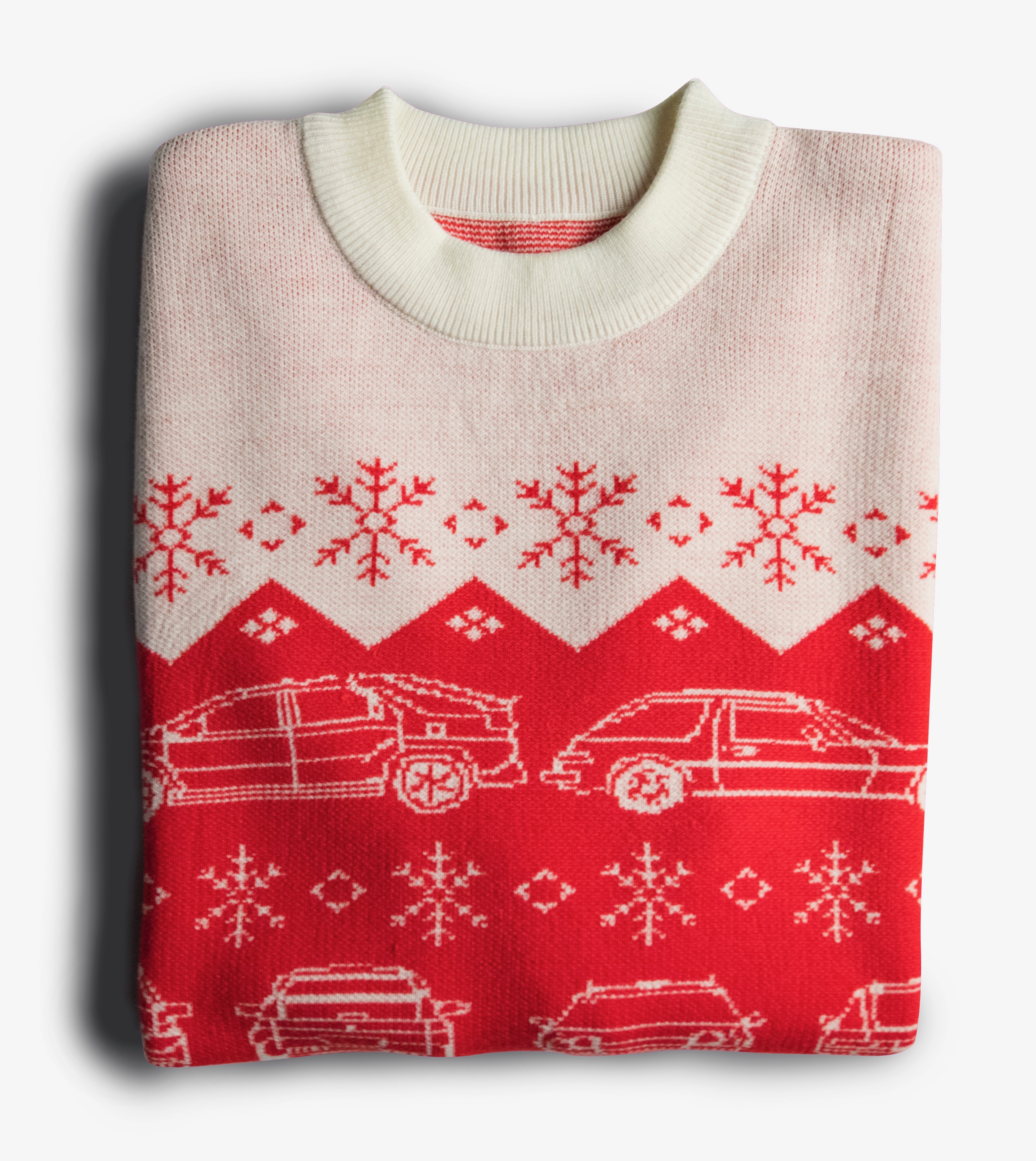 e3da98183f7492 Ugly holiday car sweater from Hagerty provides child car seats