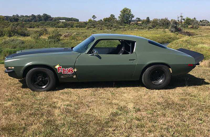 This 1972 Chevrolet F-Bomb Camaro is one of three movie cars that will be up for auction. | Live Auctioneers photo