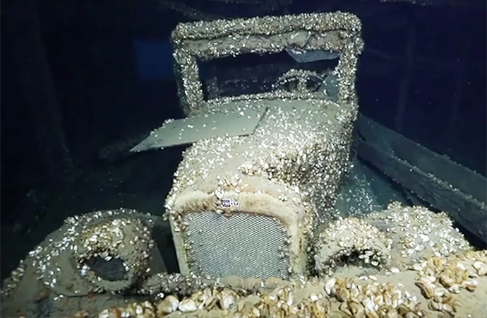 This 1927 Chevrolet coupe was found in a shipwreck about 200 feet below the surface of Lake Huron. | Screenshot