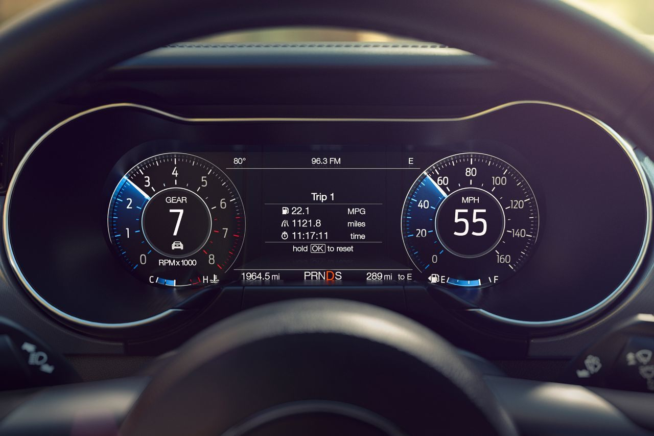 The all-electronic gauge cluster changes appearance as the driver toggles between drive modes. | Ford Motor Company photo