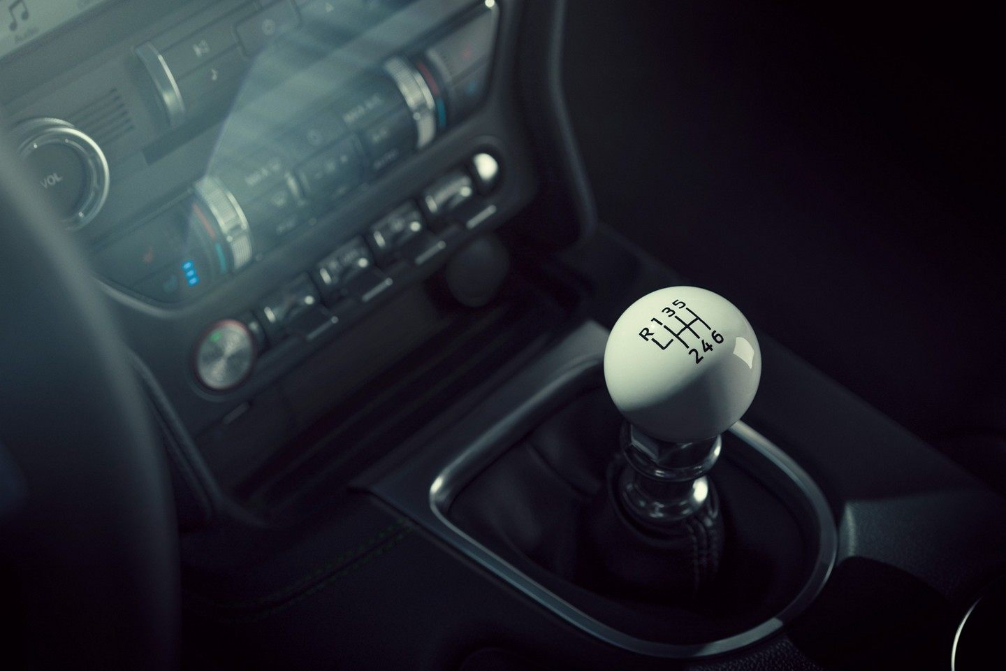 You know what's awesome? A stock six-speed manual with the white cue ball shifter, that's what. | Ford Motor Company photo
