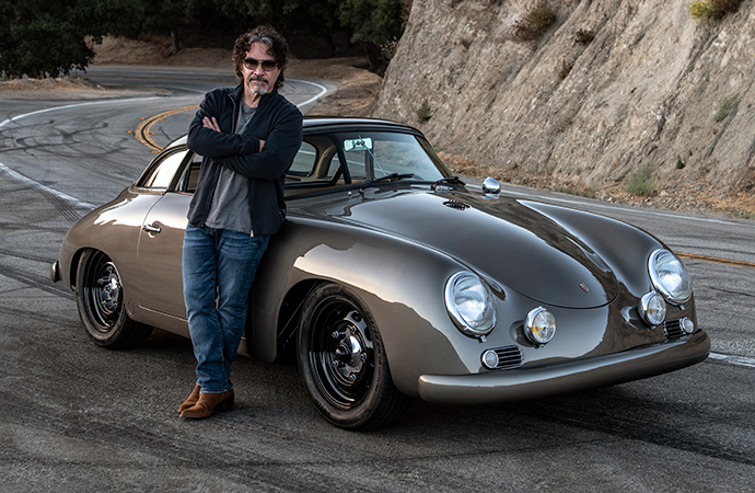 Musician John Oates stands next to a custom 1960 Porsche 356 built by Rod Emory. | Emory Motorsports photo