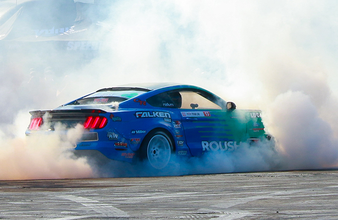 The Roush Performance booth and adjacent drift experience were quite the draw at the 2018 SEMA Show in Las Vegas. | Roush Performance photos