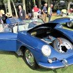 Judges examine the engine compartment of a 1962 Porsche 356 B Cabriolet