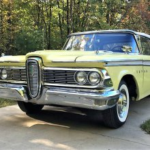 Elegantly restored 1959 Edsel convertible in springtime colors