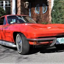 A Christmas Corvette in bright red