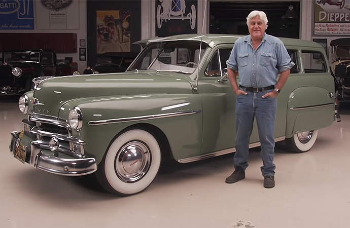 Jay Leno was thrilled to show off this 1950 Plymouth Suburban on a recent episode of Jay Leno's Garage. | Screenshot