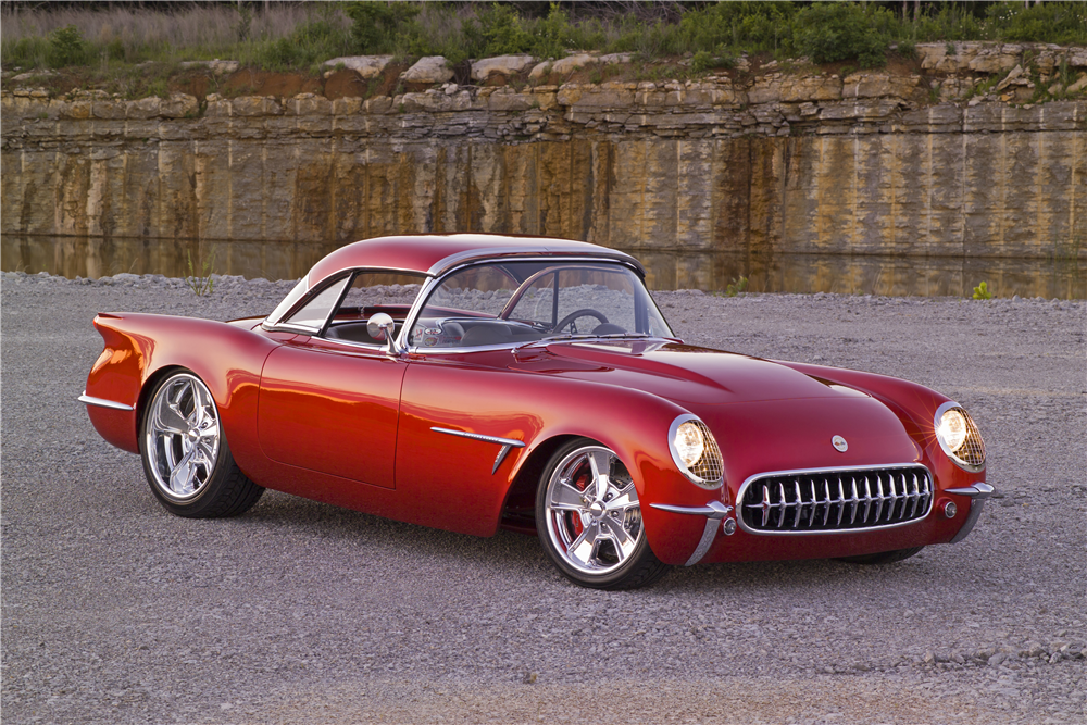 This 1954 Chevrolet Corvette meant to blend vehicular architecture of the past with modern technology will be offered by Barrett-Jackson at the upcoming Scottsdale auction. | Barrett-Jackson photos