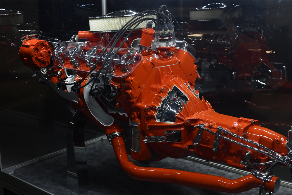 This unique Corvette 396/425 Cutaway Engine display from the General Motors Futurama Pavilion at the 1964-65 New York World's Fair will be selling at no reserve during the 2019 Scottsdale auction. | Barrett-Jackson photos