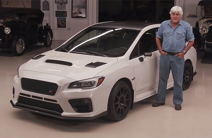 This 2016 Subaru WRX STI owned by professional skateboarder and racer Bucky Lasek stopped by Jay Leno's Garage. | Screenshot