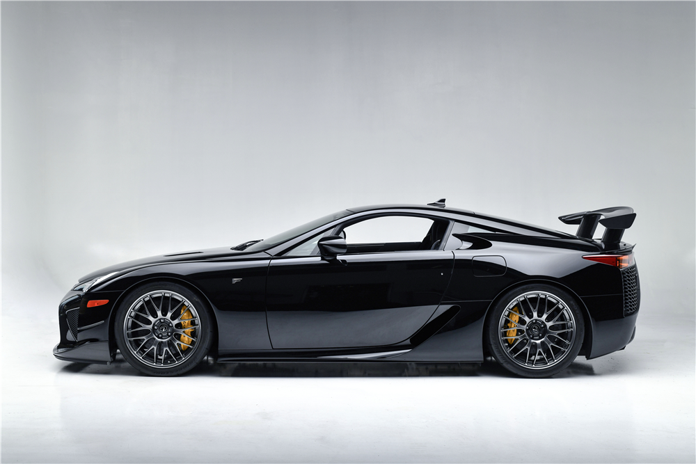 This low-mileage 2012 Lexus LFA, one of just 50 built with the Nürburgring Package, will be crossing the block at the 2019 Barrett-Jackson Scottsdale Auction with no reserve.   Barrett-Jackson photos