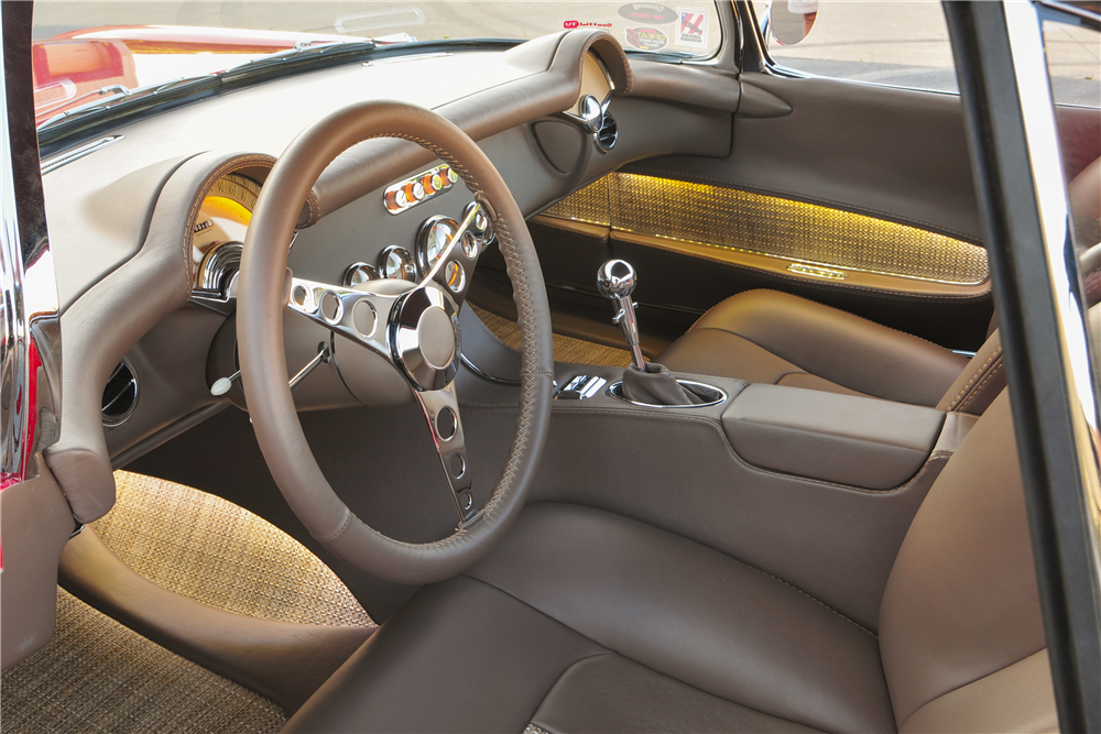 This 1954 Chevrolet Corvette meant to blend vehicular architecture of the past with modern technology will be offered by Barrett-Jackson at the upcoming Scottsdale auction.   Barrett-Jackson photos