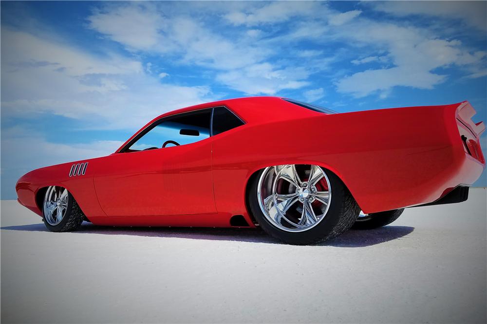 This custom 1971 Plymouth Barracuda will be on the Barrett-Jackson auction block next month. | Barrett-Jackson photos