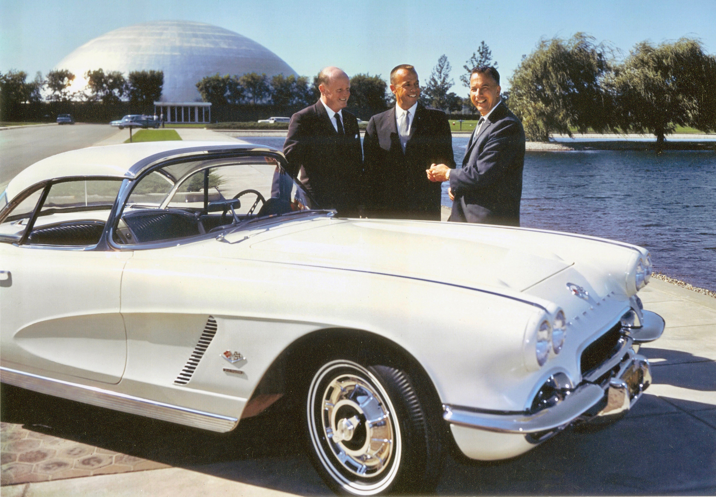 Astronaut Alan Shepard (center) visits the General Motors tech center with design director Bill Mitchell (left) and Chevy general manager Ed Cole to pick up his 1962 Corvette | Museum photo