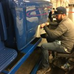 Clear vinyl is applied to each truck's bodywork to protect from road salt and winter weather. Credit AAT