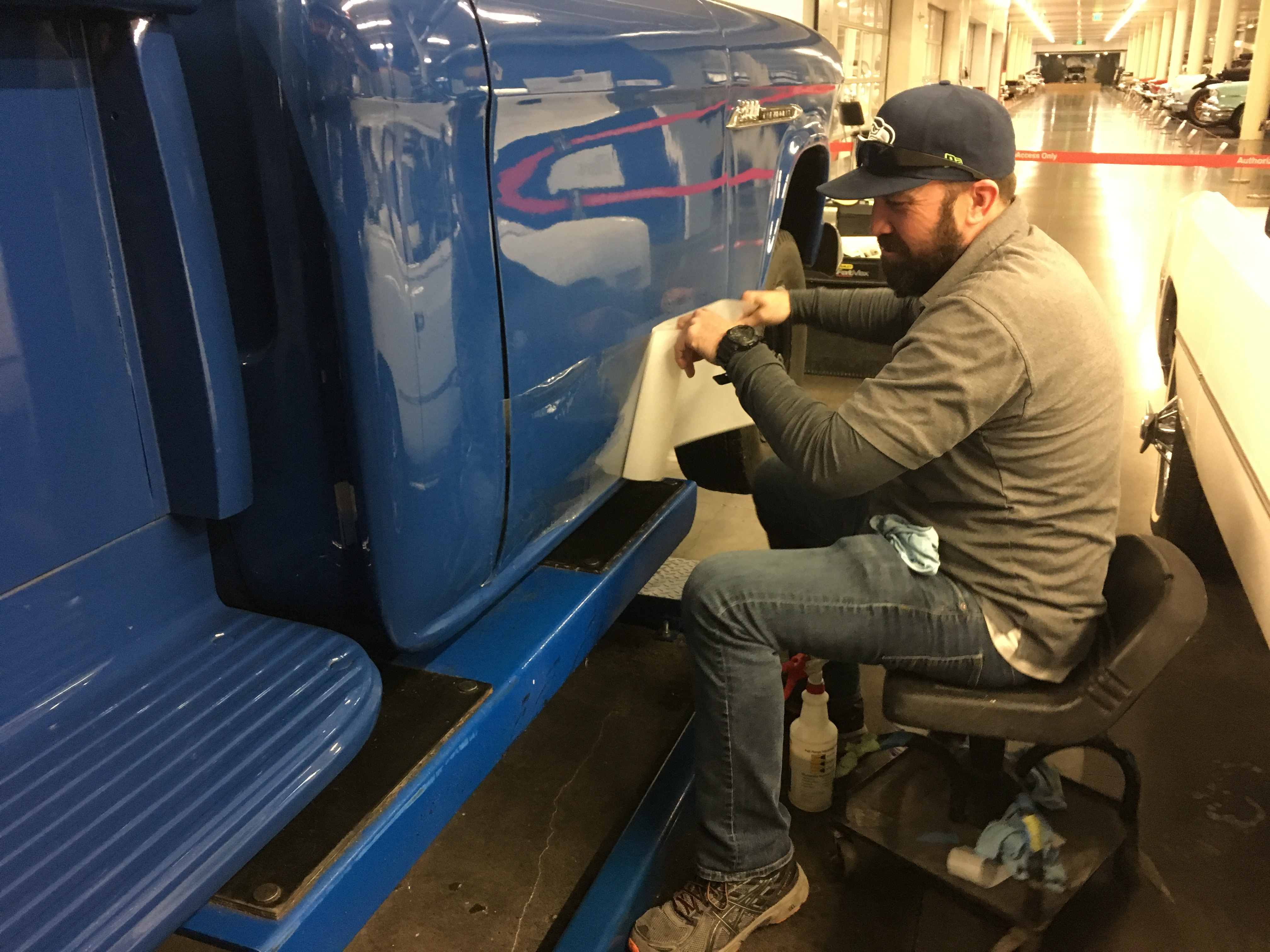 Clear vinyl is applied to each truck's bodywork to protect from road salt and winter weather.